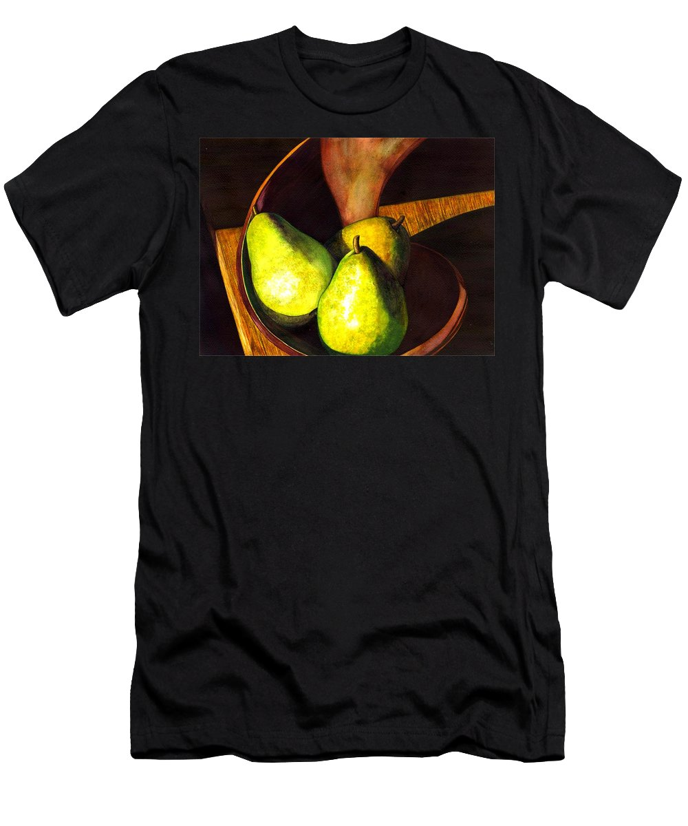 Still Life Men's T-Shirt (Athletic Fit) featuring the painting Pears No 1 by Catherine G McElroy