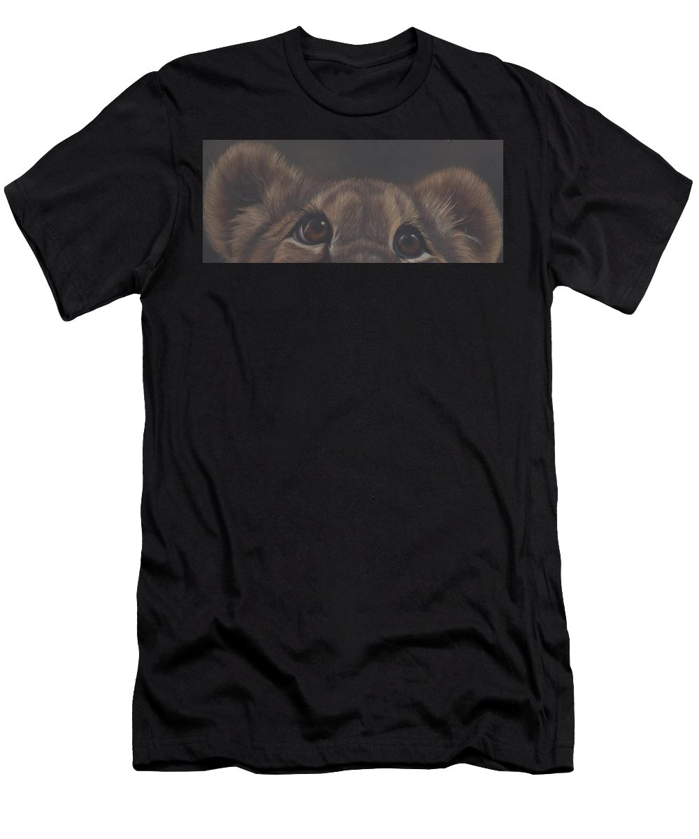 Lion Cub Men's T-Shirt (Athletic Fit) featuring the painting Peek-a-boo by Elizabeth Waitinas