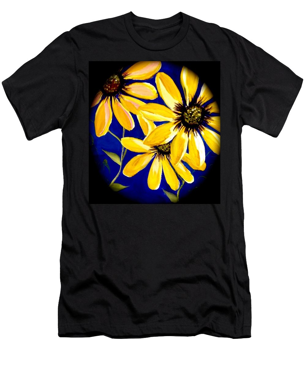 Sunflowers Men's T-Shirt (Athletic Fit) featuring the painting Peekaboo Sunflowers by Kathy Othon