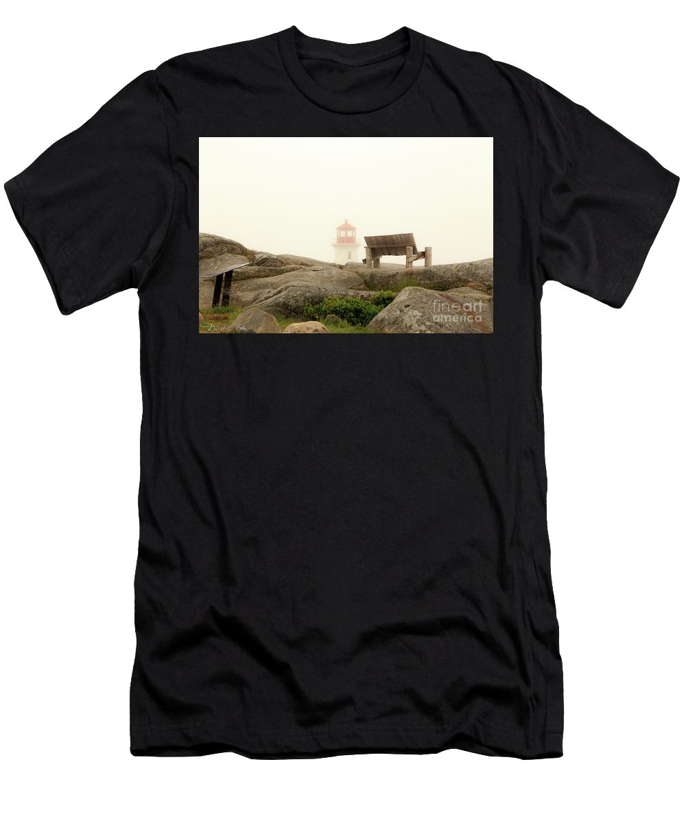 Peggy's_cove_lighthouse Csaba_demzse Men's T-Shirt (Athletic Fit) featuring the photograph Peggy's Cove Lighthouse And The Banch by Csaba Demzse