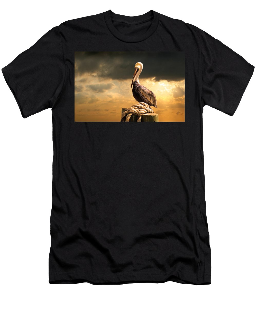 Pelican Men's T-Shirt (Athletic Fit) featuring the photograph Pelican After A Storm by Mal Bray
