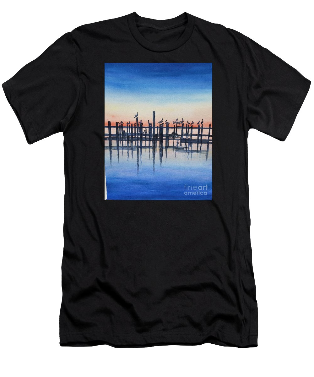 Water Men's T-Shirt (Athletic Fit) featuring the painting Pelicans At Dusk by Catherine Wilson