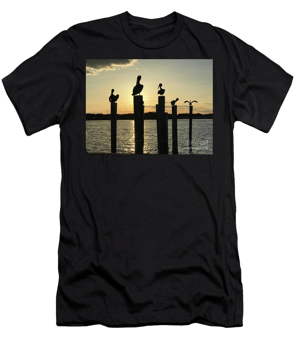 Pelican Men's T-Shirt (Athletic Fit) featuring the photograph Pelicans At Sunset by Sharon Bowling