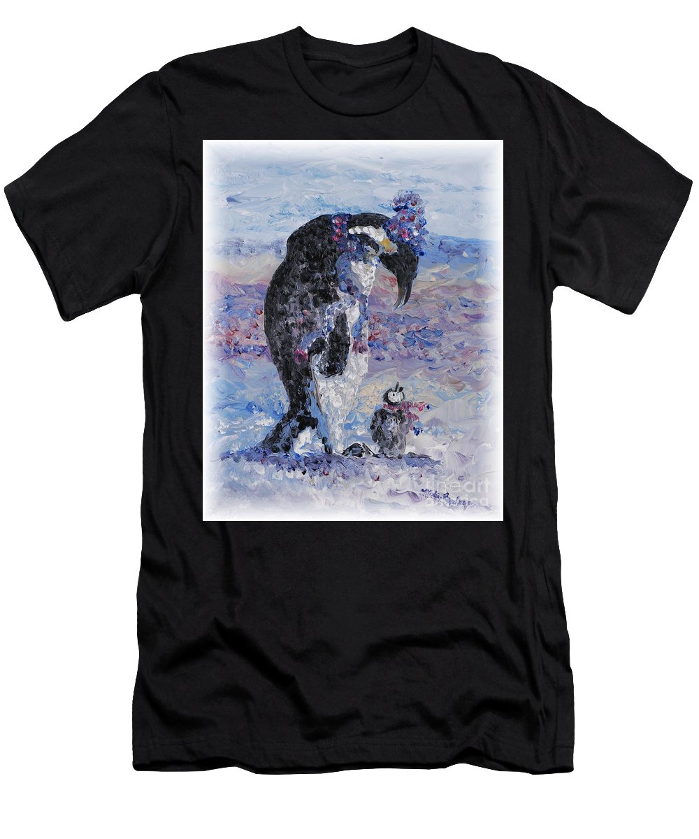 Penguins Winter Snow Blue Purple White Men's T-Shirt (Athletic Fit) featuring the painting Penguin Love by Nadine Rippelmeyer
