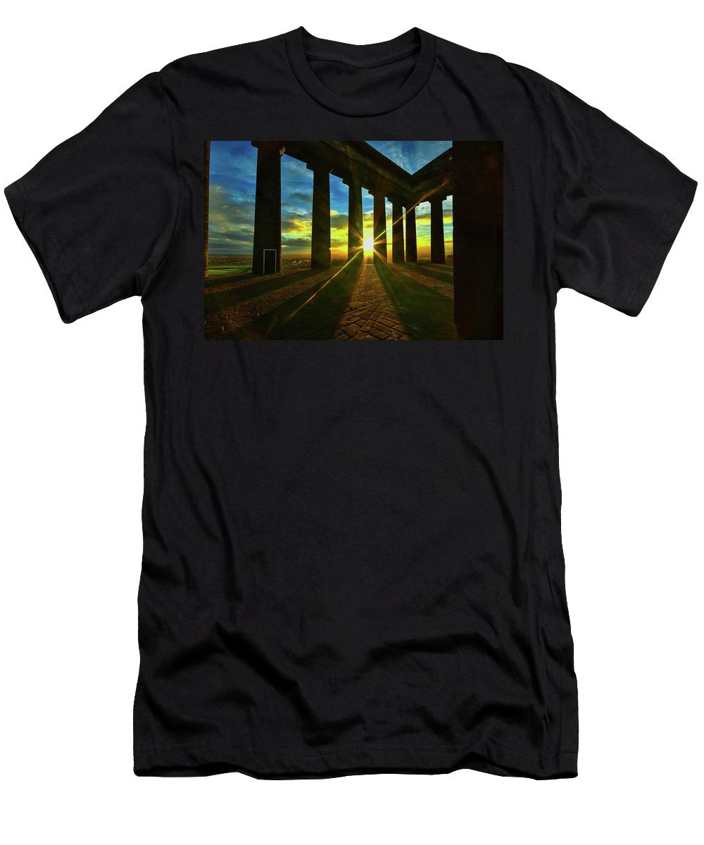 Men's T-Shirt (Athletic Fit) featuring the photograph Penshaw Sunset. by John W Pattison