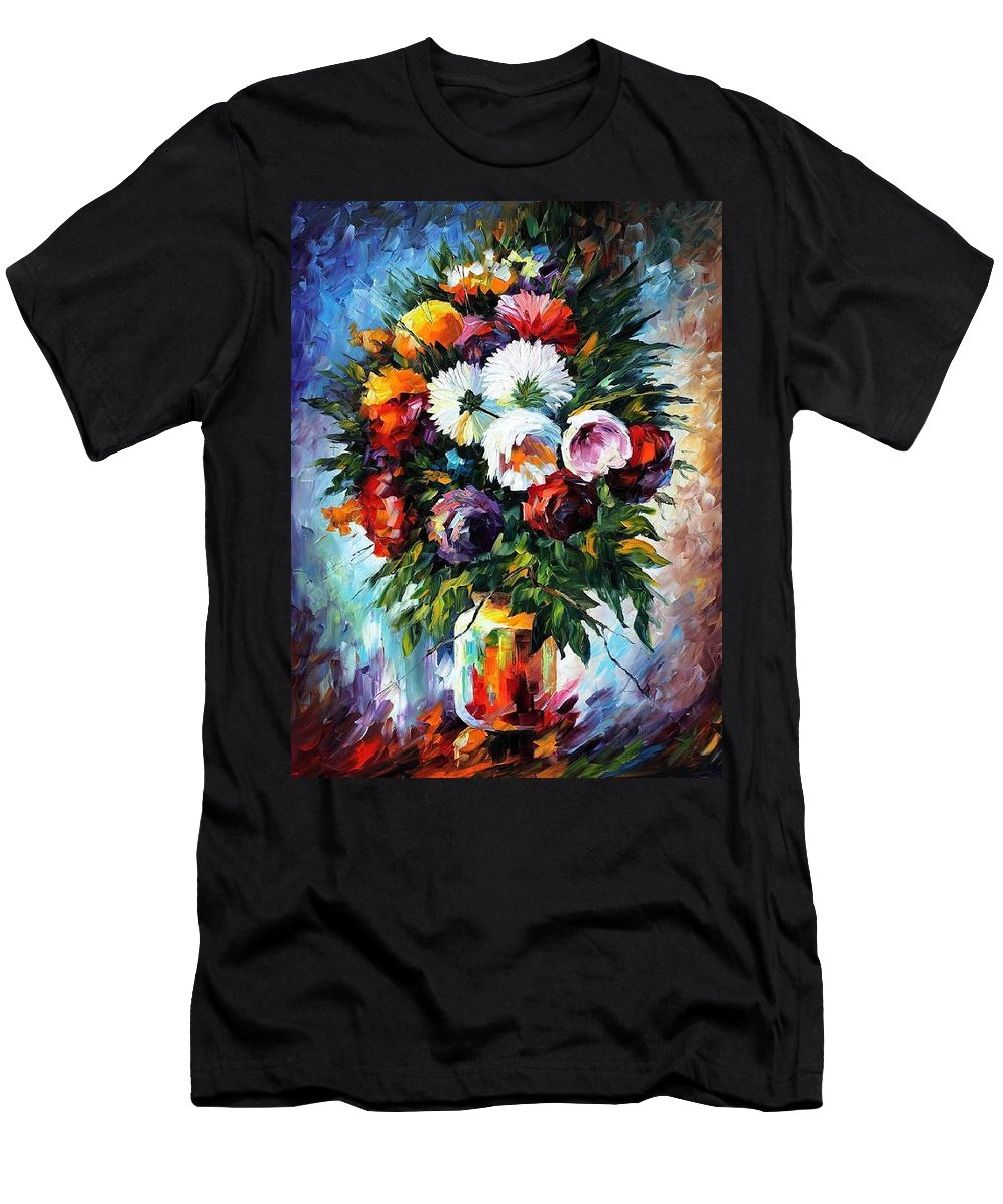 Afremov Men's T-Shirt (Athletic Fit) featuring the painting Peonies by Leonid Afremov