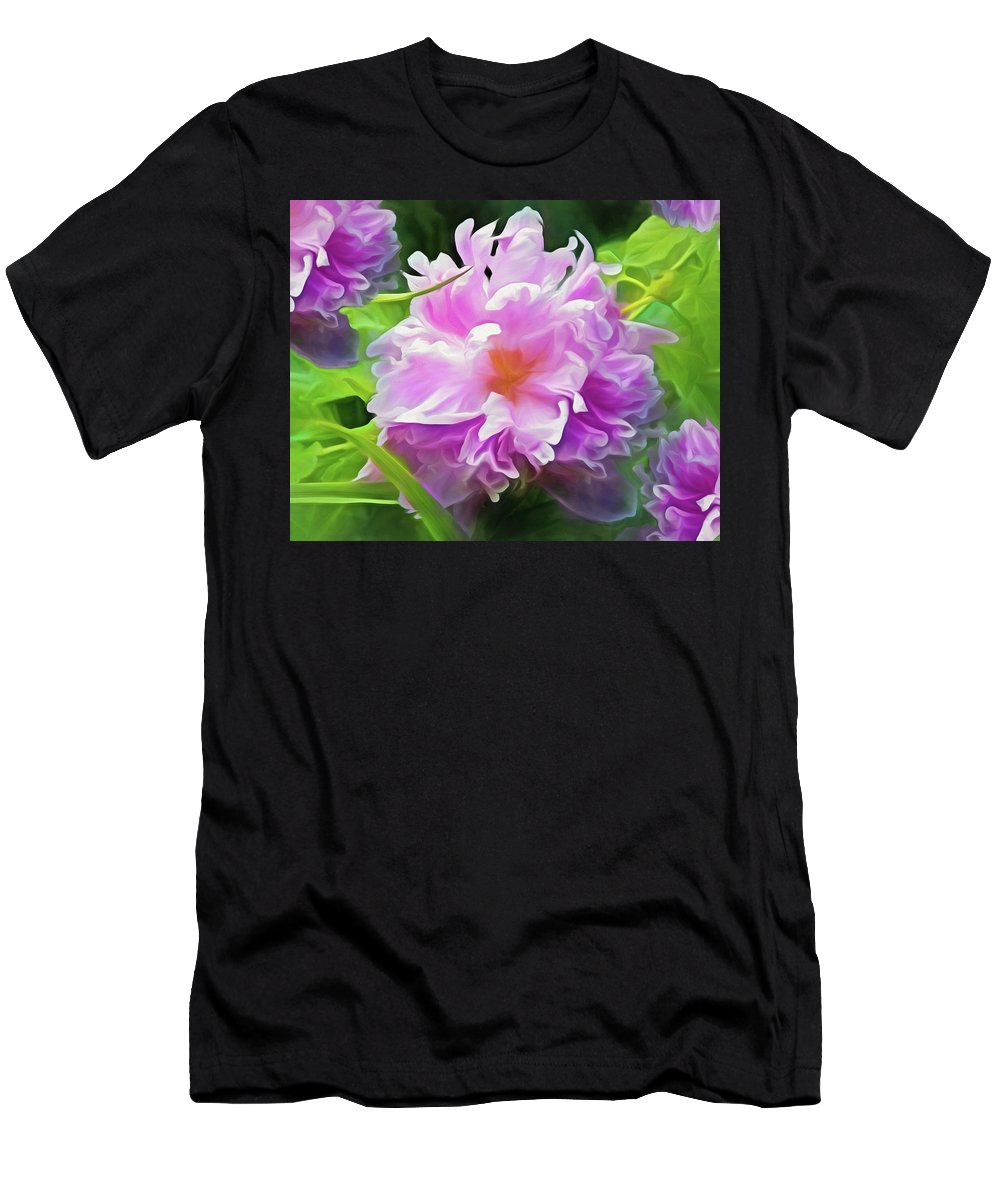 Floral Men's T-Shirt (Athletic Fit) featuring the mixed media Peony Cluster 7 by Lynda Lehmann