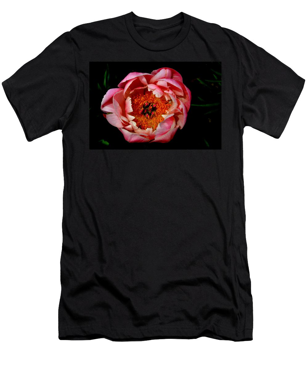 Flower Men's T-Shirt (Athletic Fit) featuring the photograph Peony On Display by Belinda Stucki