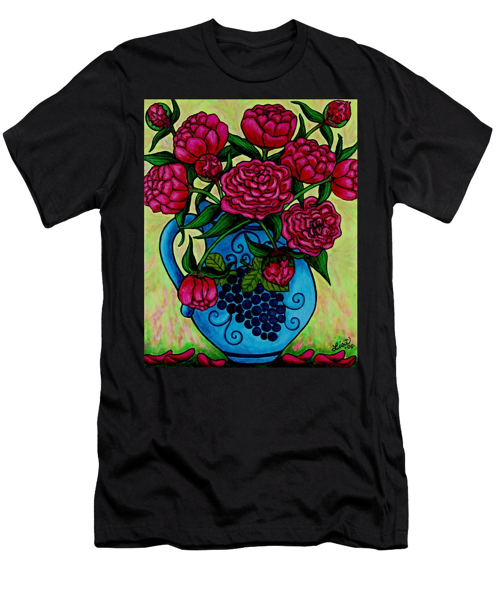 Peonies Men's T-Shirt (Athletic Fit) featuring the painting Peony Party by Lisa Lorenz