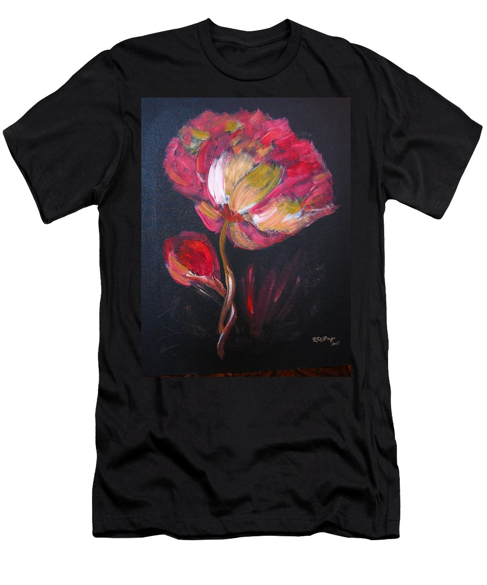 Peony Men's T-Shirt (Athletic Fit) featuring the painting Peony by Richard Le Page