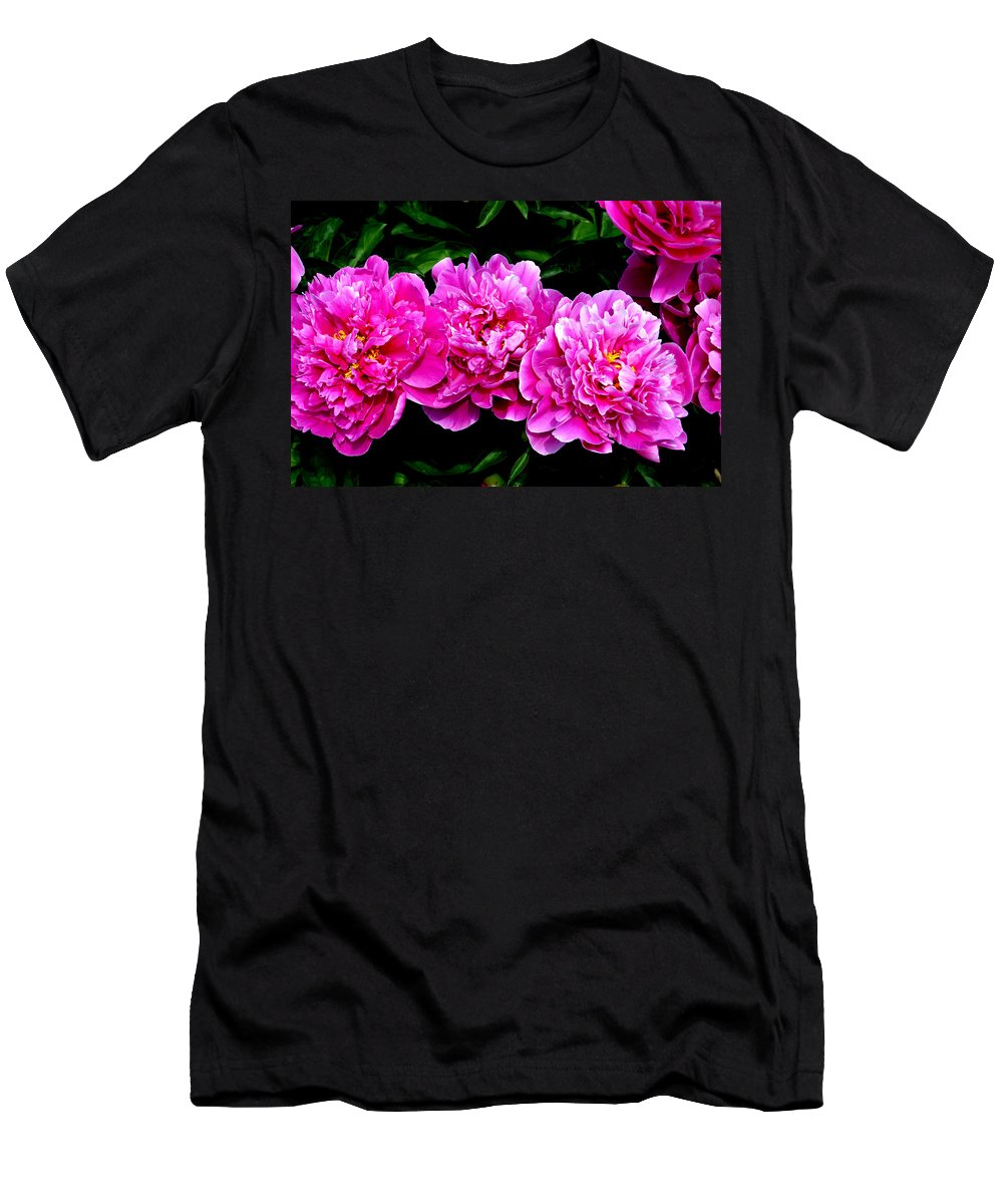 Flower Men's T-Shirt (Athletic Fit) featuring the photograph Peony Trio by Belinda Stucki