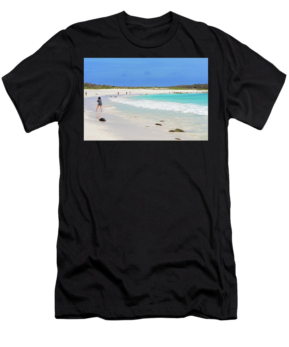 Tourists Men's T-Shirt (Athletic Fit) featuring the photograph People On The Beach In Espanola Island. by Marek Poplawski