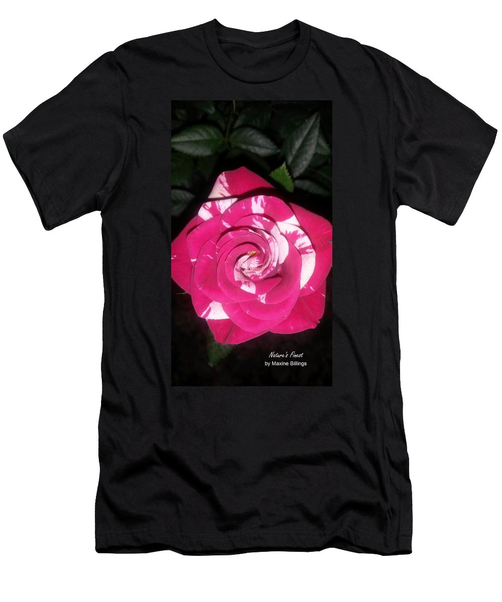 Roses Men's T-Shirt (Athletic Fit) featuring the photograph Peppermint Rose by Maxine Billings