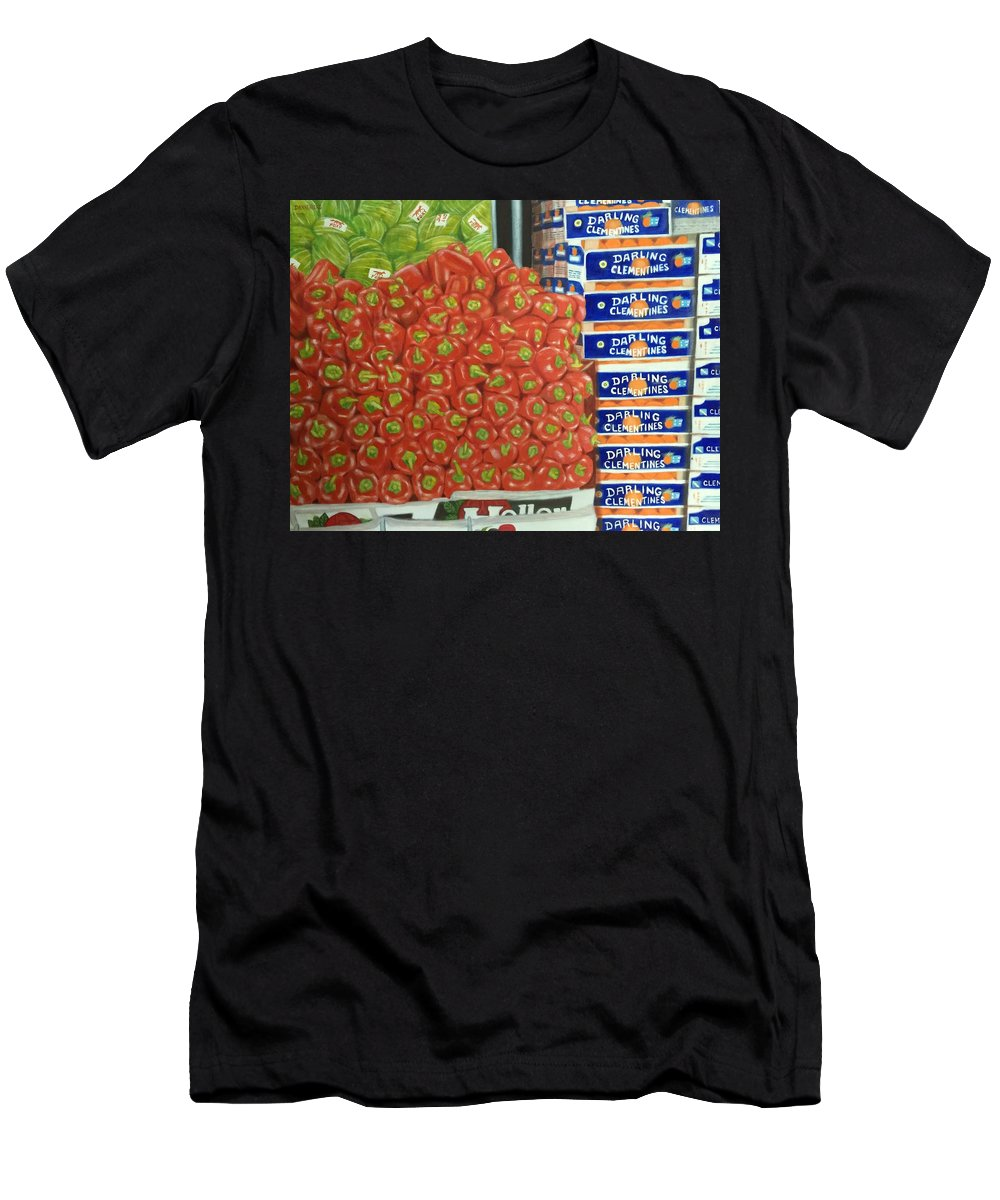 Peppers Men's T-Shirt (Athletic Fit) featuring the painting Peppers And Clementines by Leslie Dannenberg