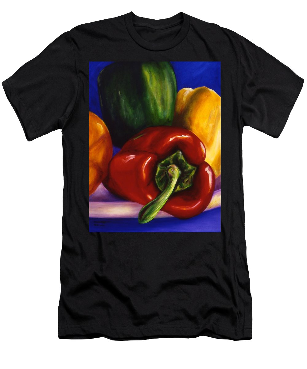 Still Life Men's T-Shirt (Athletic Fit) featuring the painting Peppers On Peppers by Shannon Grissom