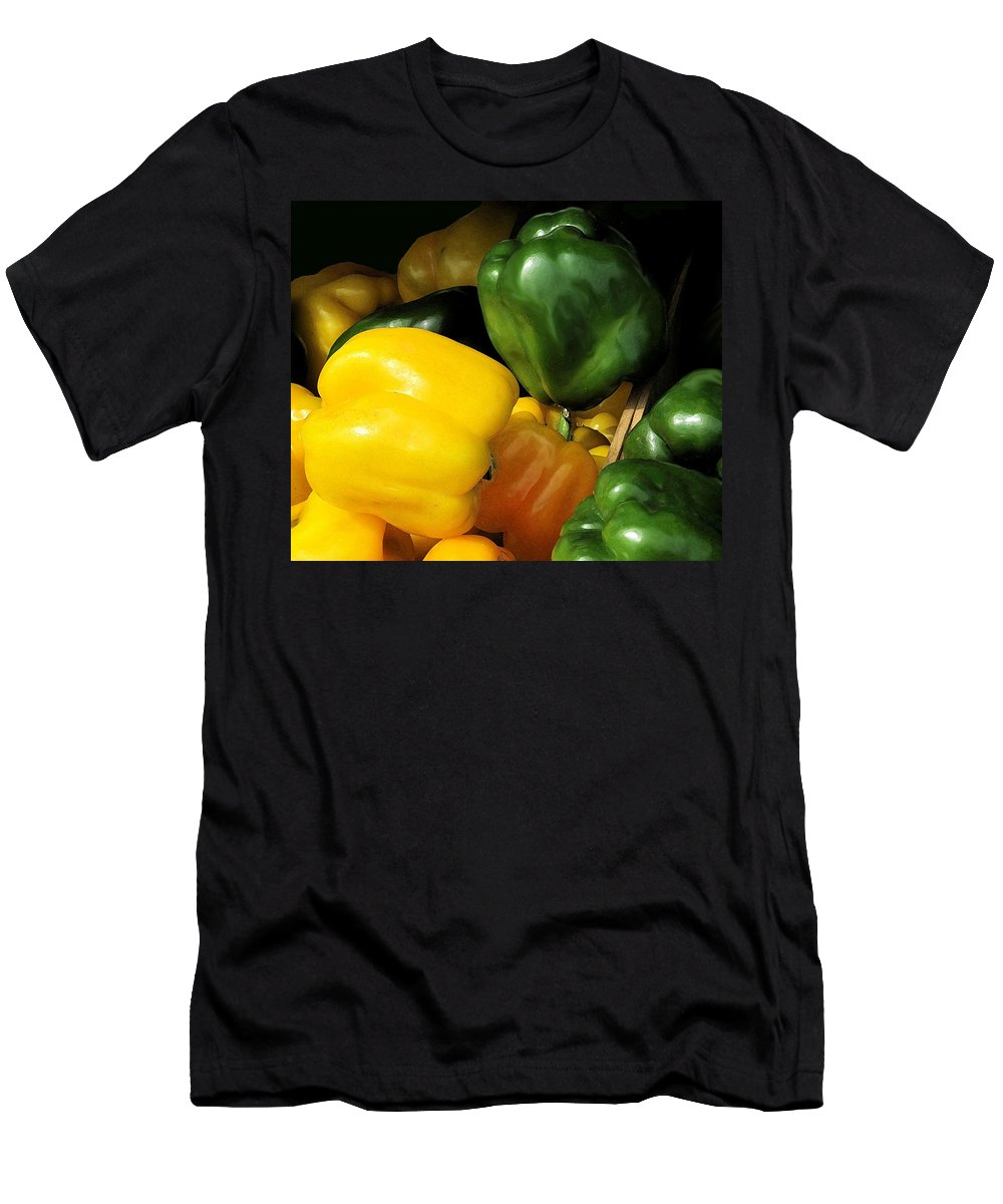 Peppers Men's T-Shirt (Athletic Fit) featuring the photograph Peppers Yellow And Green by Ian MacDonald