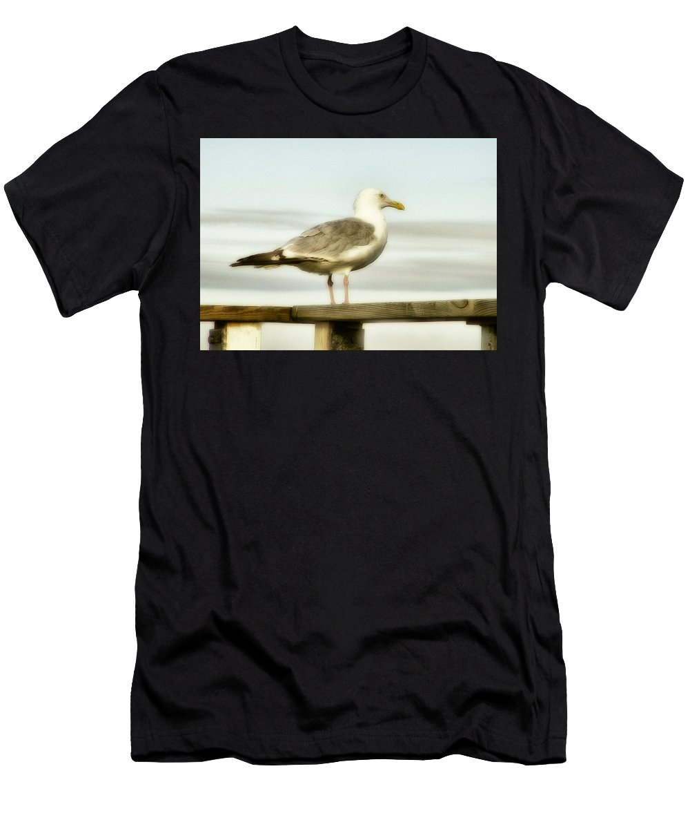 Seagull Outdoor Men's T-Shirt (Athletic Fit) featuring the photograph Perch By The Water by Gothicrow Images