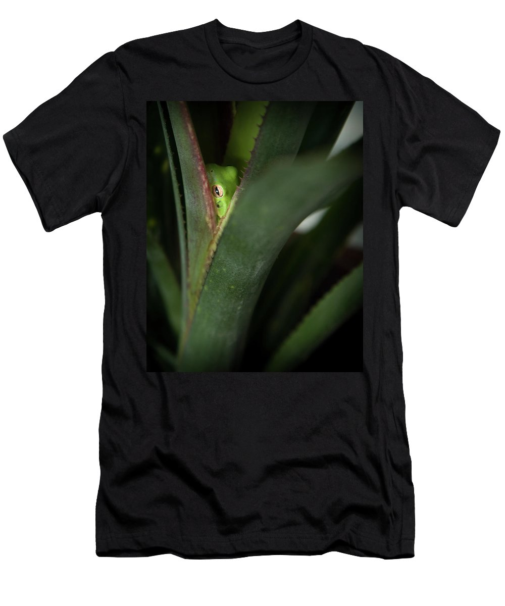 Perched Frog Men's T-Shirt (Athletic Fit) featuring the photograph Perching With Comfort by Denis Lemay
