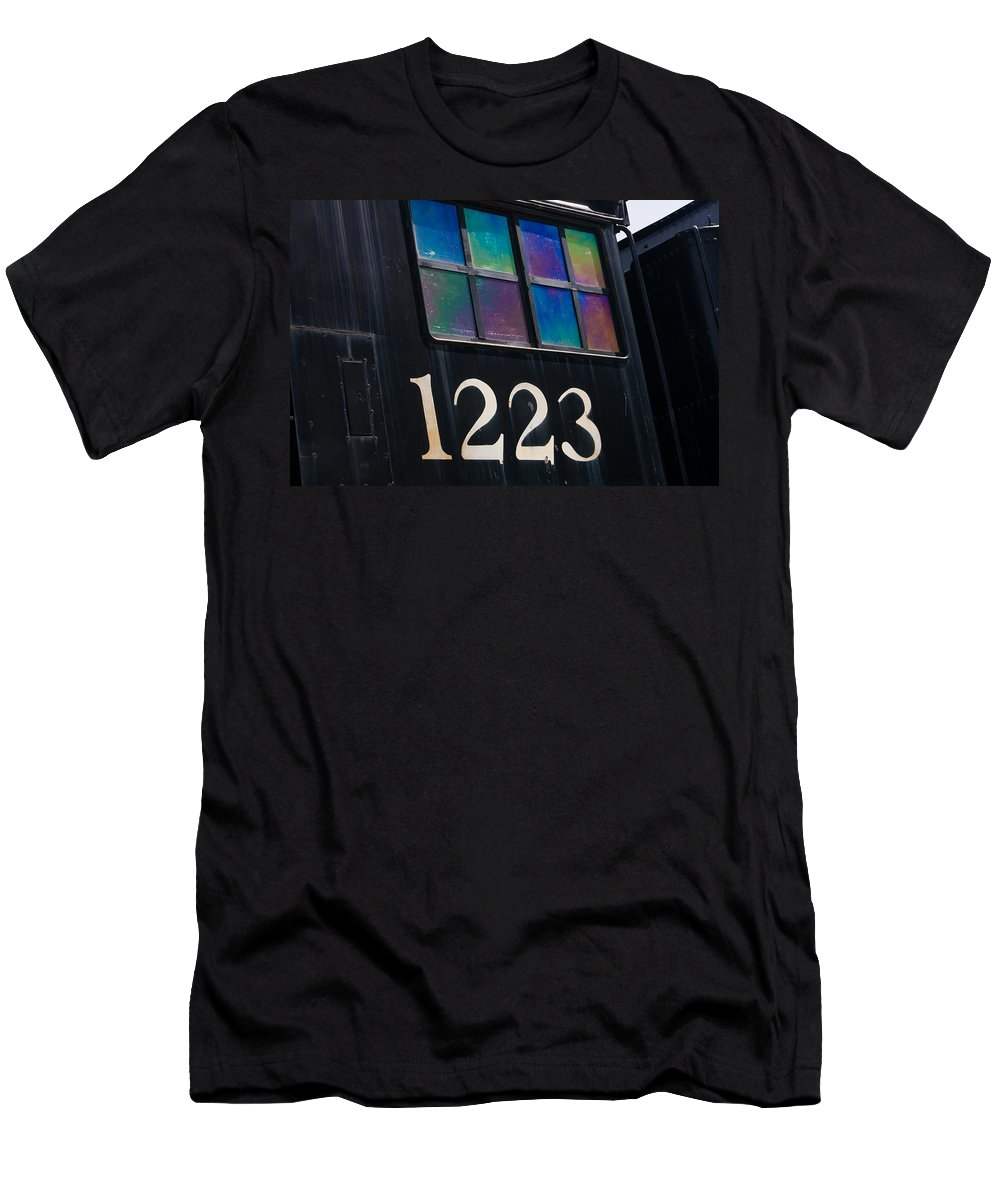 3scape Men's T-Shirt (Athletic Fit) featuring the photograph Pere Marquette Locomotive 1223 by Adam Romanowicz