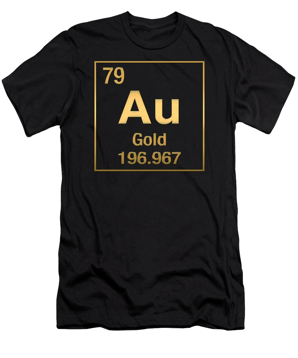 Periodic table of elements gold au gold on black t shirt for the elements collection by serge averbukh mens t shirt athletic fit urtaz Images