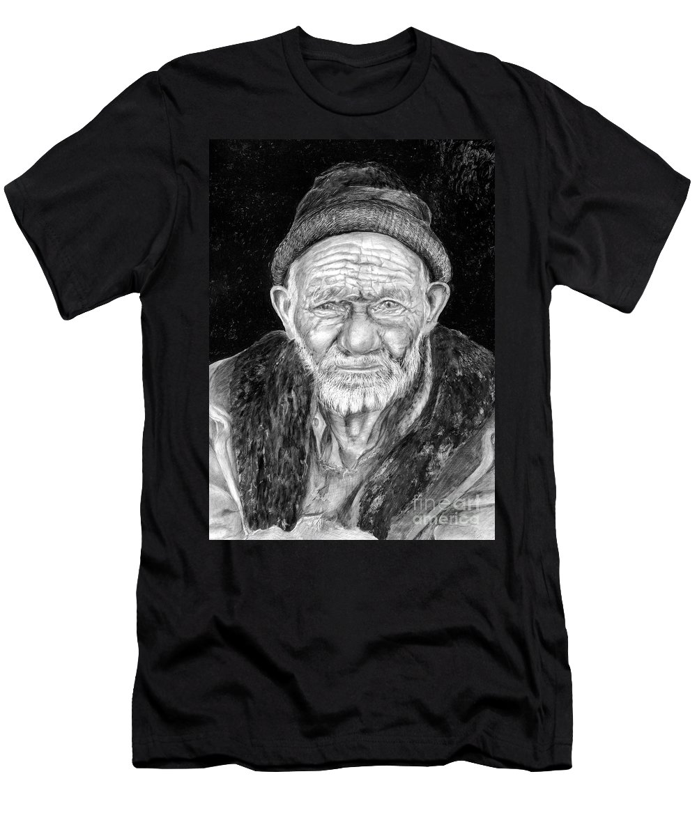 Figurative Painting Men's T-Shirt (Athletic Fit) featuring the painting Perserverance by Portraits By NC
