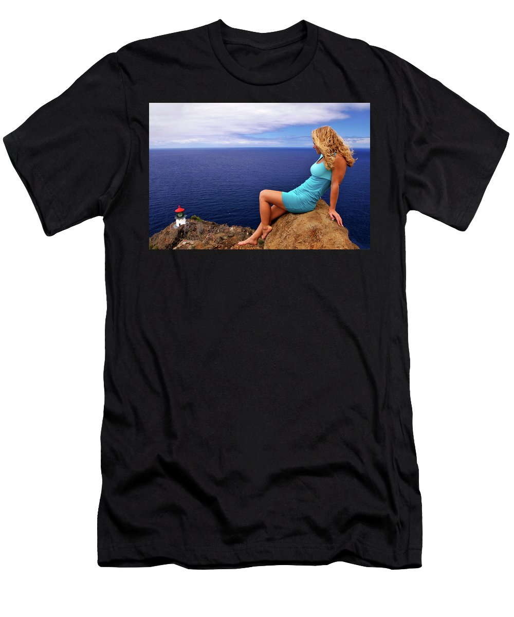 Lighthouse Men's T-Shirt (Athletic Fit) featuring the photograph Perspective by John Coffey