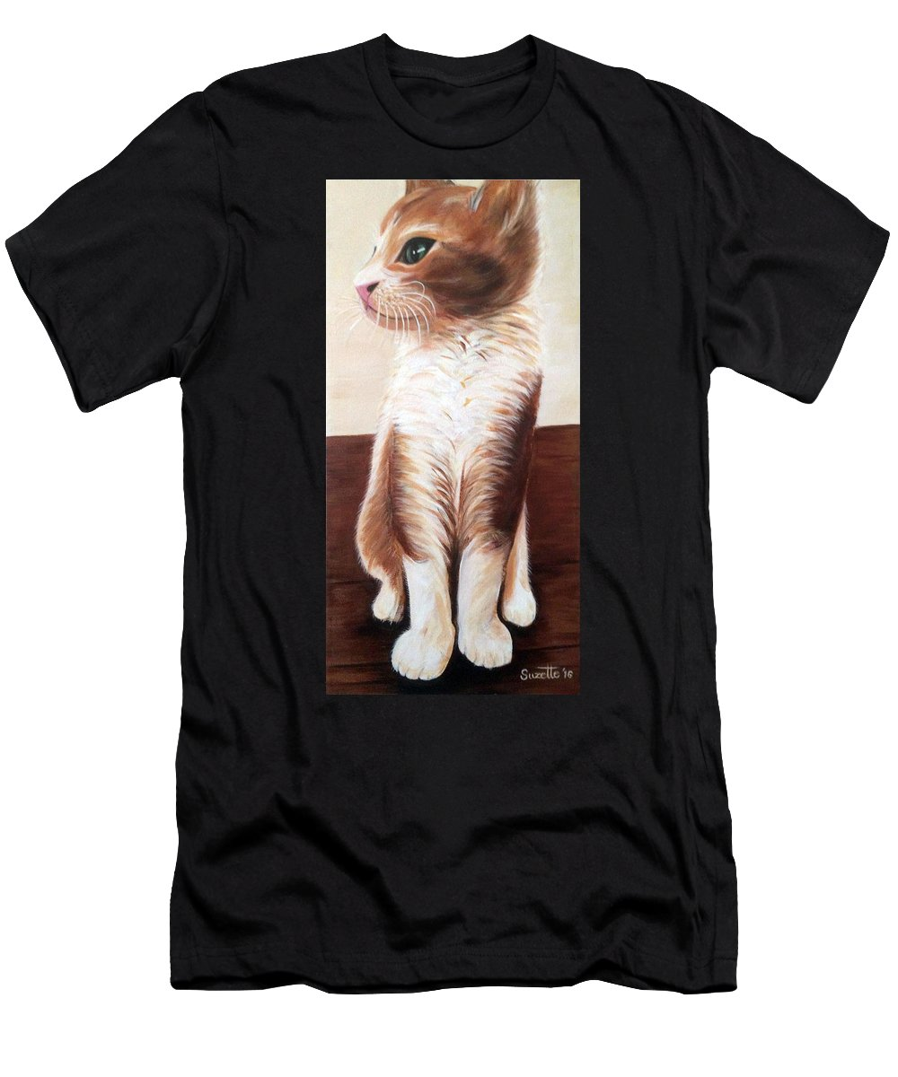 Kitty Men's T-Shirt (Athletic Fit) featuring the painting Pet Portrait by Suzette Castro