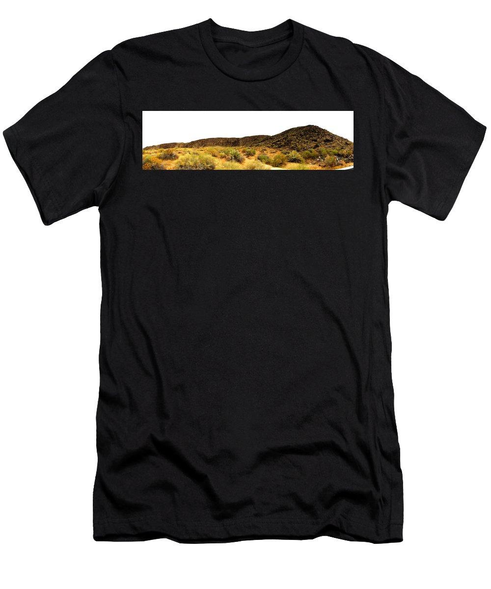 Petroglyph National Park Albuquerque New Mexico Men's T-Shirt (Athletic Fit) featuring the photograph Petroglyph Panarama - 003 by Dave Stubblefield