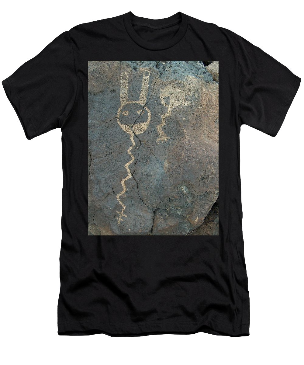 Petroglyph Men's T-Shirt (Athletic Fit) featuring the photograph Petroglyph Series 1 by Tim McCarthy