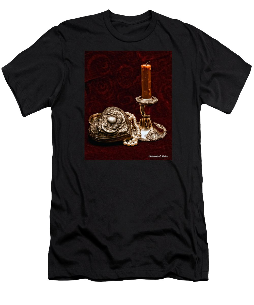 Pewter Men's T-Shirt (Athletic Fit) featuring the photograph Pewter And Pearls by Christopher Holmes