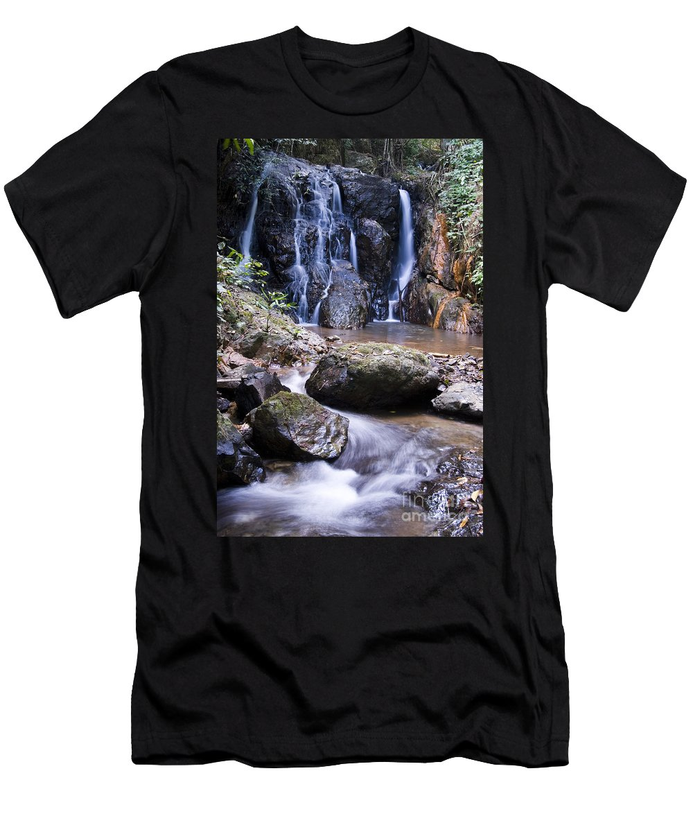 Bill Brennan Men's T-Shirt (Athletic Fit) featuring the photograph Pha Sua Waterfall by Bill Brennan - Printscapes