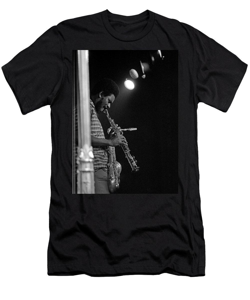 Pharoah Sanders Men's T-Shirt (Athletic Fit) featuring the photograph Pharoah Sanders 1 by Lee Santa