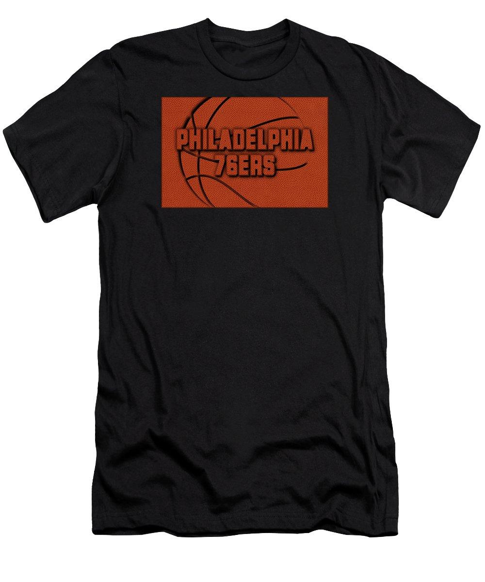 76ers Men's T-Shirt (Athletic Fit) featuring the photograph Philadelphia 76ers Leather Art by Joe Hamilton