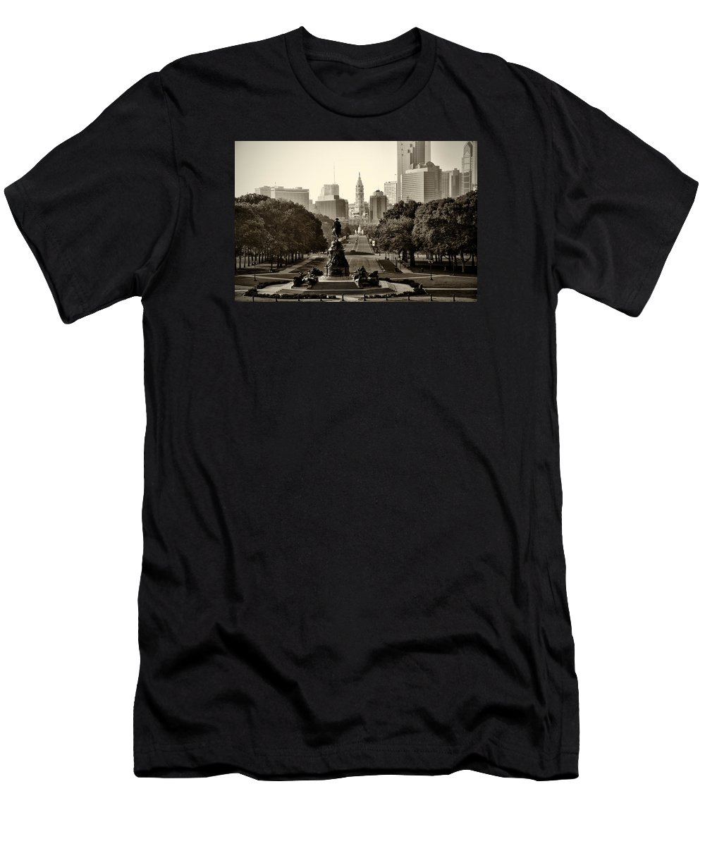 Philadelphia Men's T-Shirt (Athletic Fit) featuring the photograph Philadelphia Benjamin Franklin Parkway In Sepia by Bill Cannon