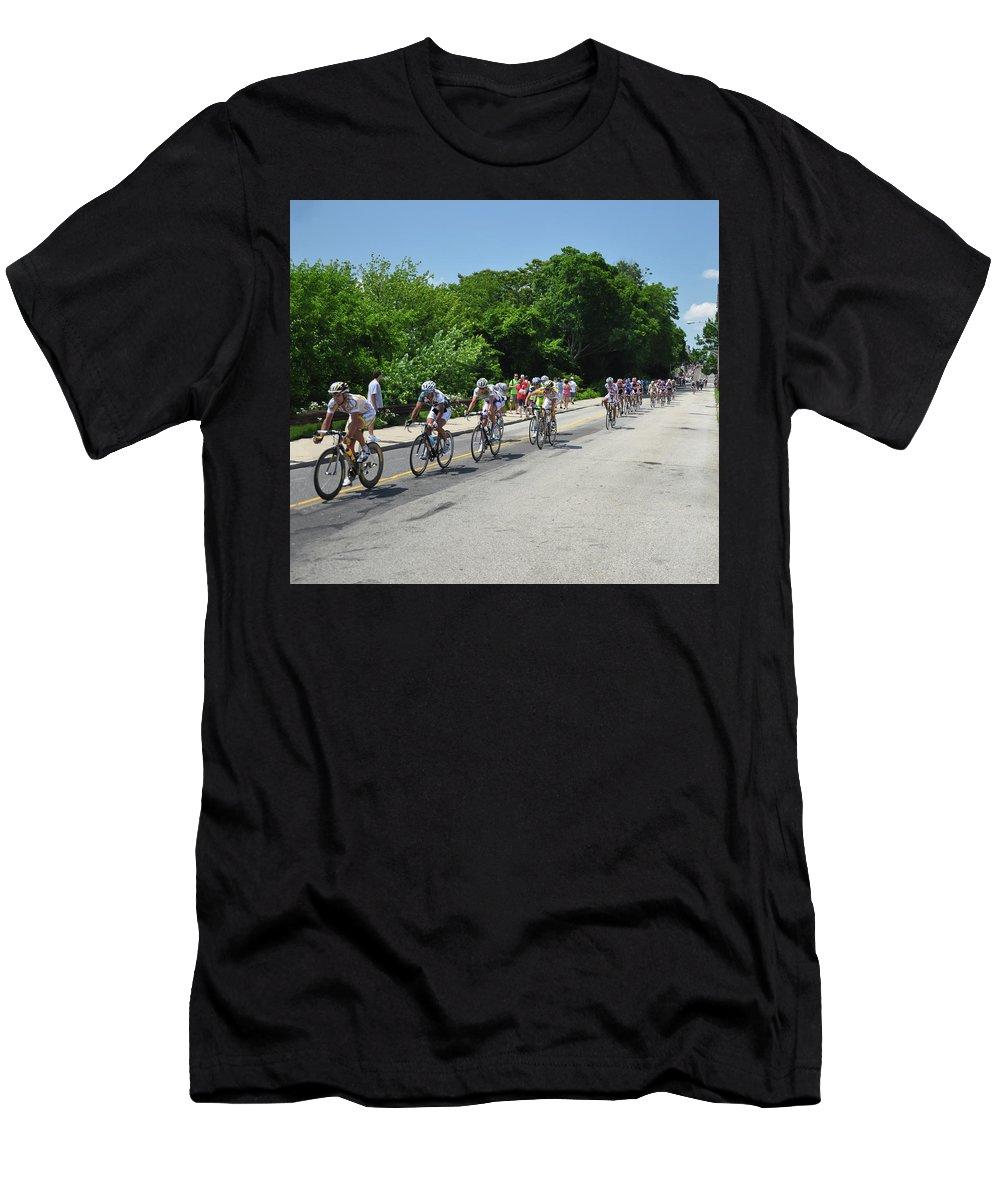Philadelphia Men's T-Shirt (Athletic Fit) featuring the photograph Philadelphia Bike Race - Manayunk Avenue by Bill Cannon