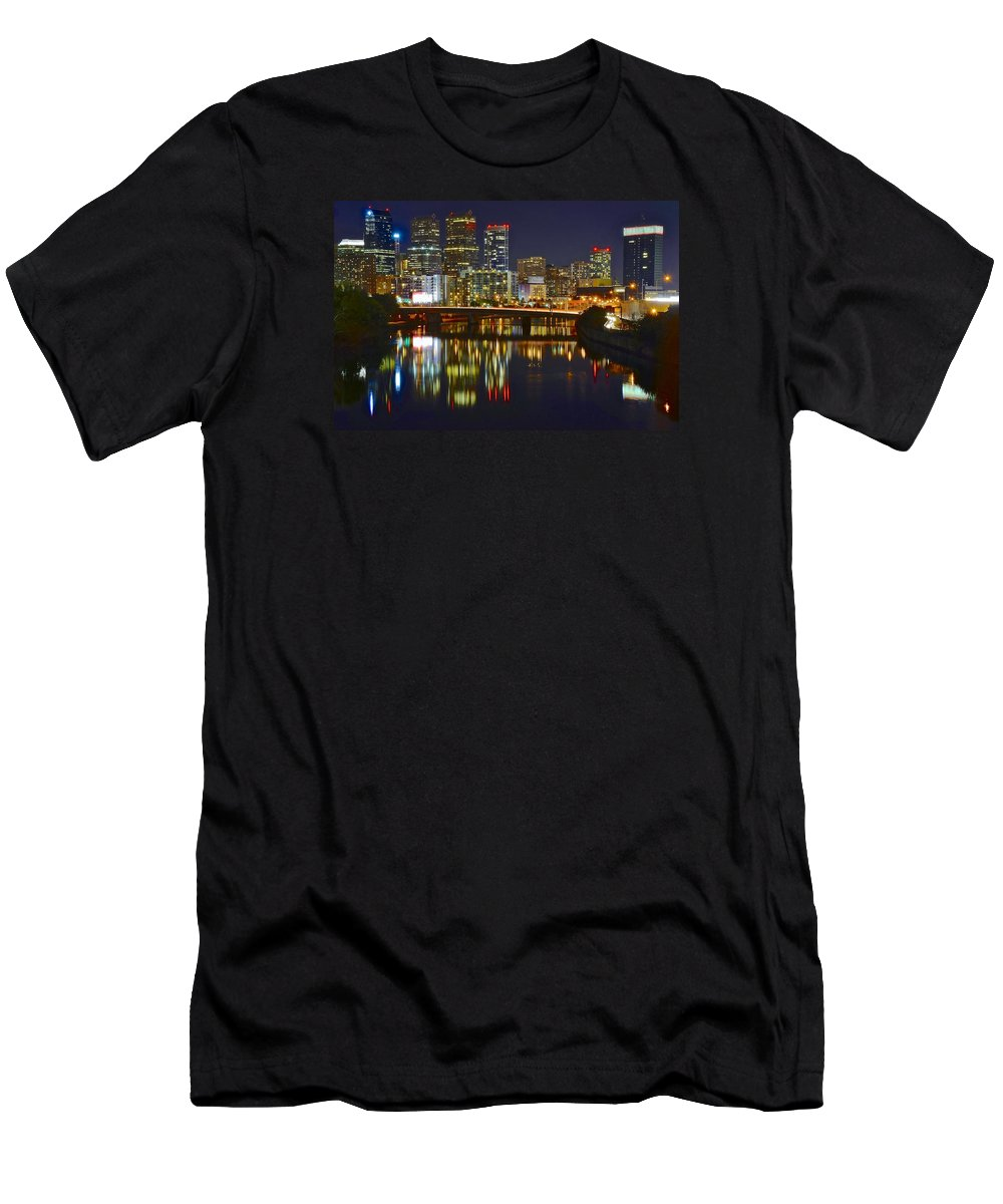 Philadelphia Men's T-Shirt (Athletic Fit) featuring the photograph Philadelphia Evening Lights by Frozen in Time Fine Art Photography
