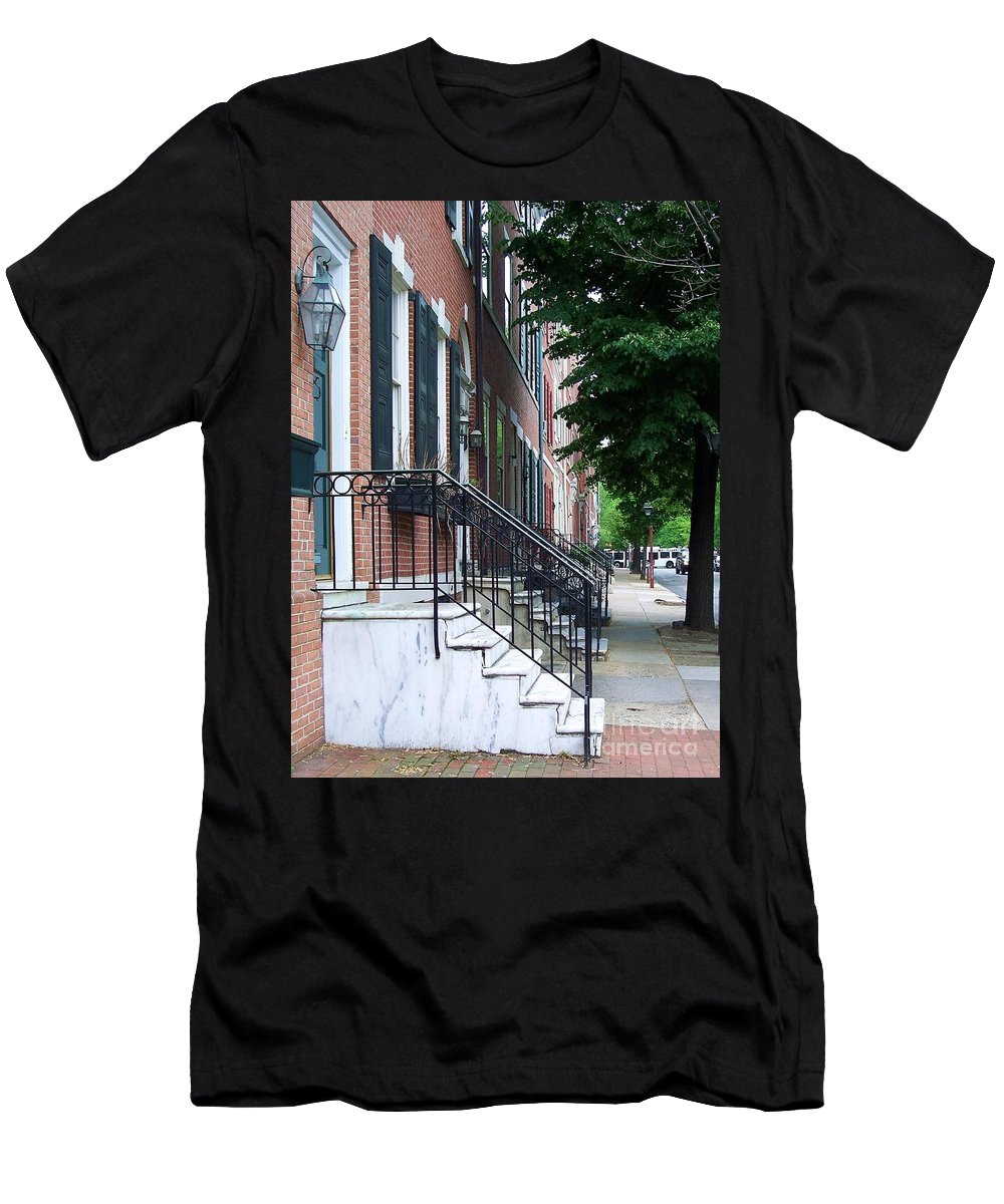 Architecture Men's T-Shirt (Athletic Fit) featuring the photograph Philadelphia Neighborhood by Debbi Granruth