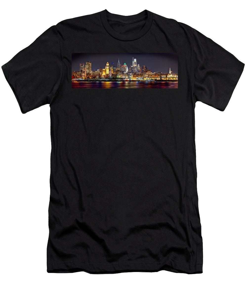 Philadelphia Skyline At Night Men's T-Shirt (Athletic Fit) featuring the photograph Philadelphia Philly Skyline At Night From East Color by Jon Holiday