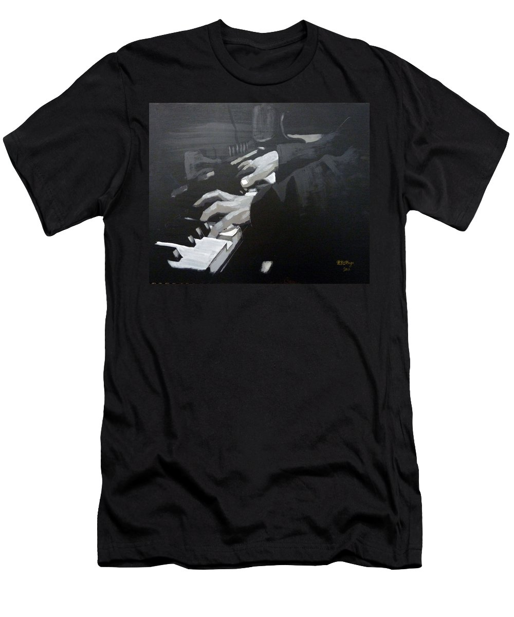 Piano Men's T-Shirt (Athletic Fit) featuring the painting Piano Hands by Richard Le Page