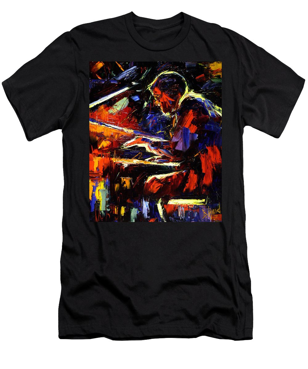 Jazz Men's T-Shirt (Athletic Fit) featuring the painting Piano Man by Debra Hurd