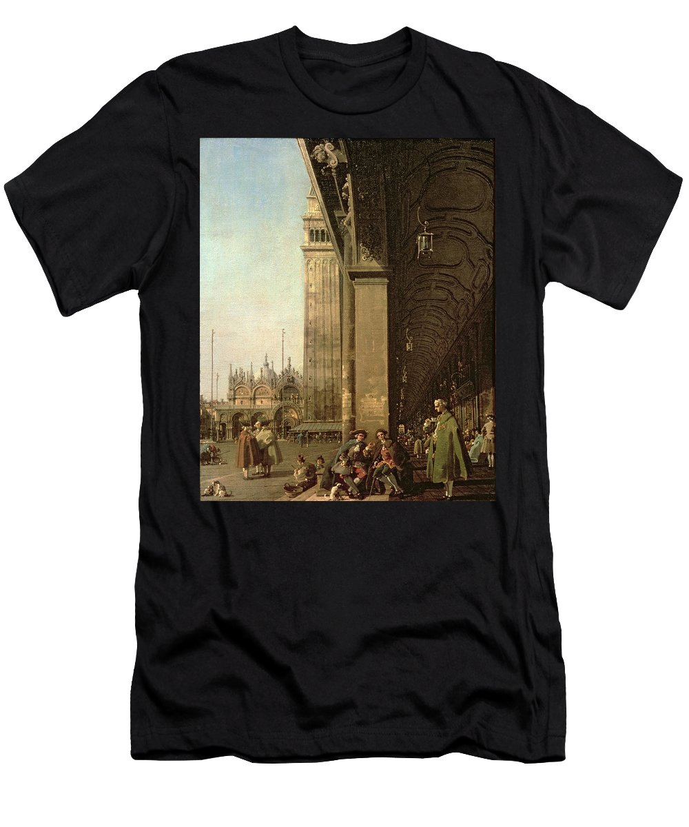 Canaletto Men's T-Shirt (Athletic Fit) featuring the painting Piazza Di San Marco And The Colonnade Of The Procuratie Nuove by Canaletto