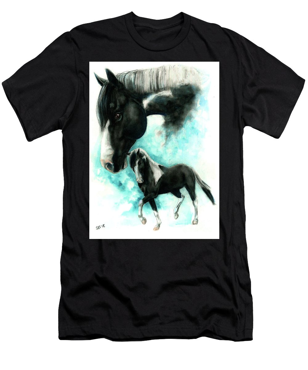 Paint Horse Men's T-Shirt (Athletic Fit) featuring the drawing Picasso by Samantha Strong