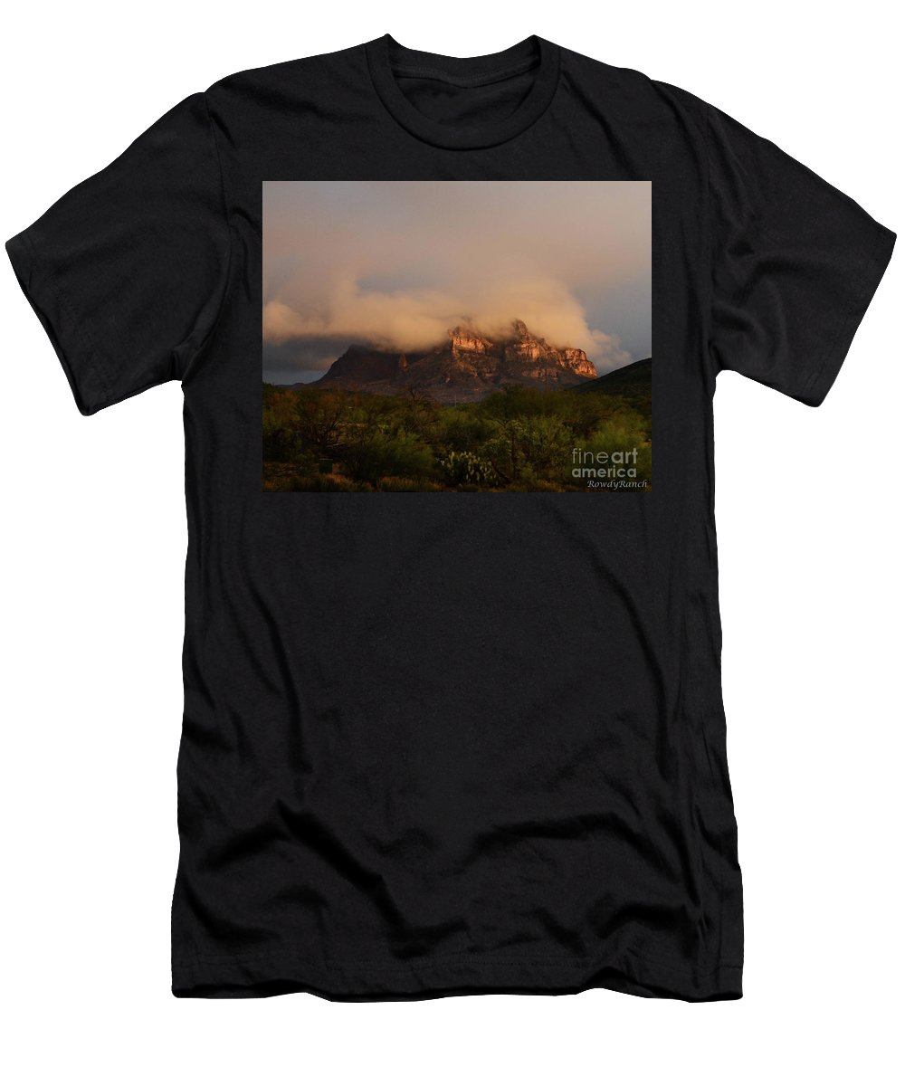 Mountain Men's T-Shirt (Athletic Fit) featuring the photograph Picket Post Sun Ray Clouds by Katie Brown