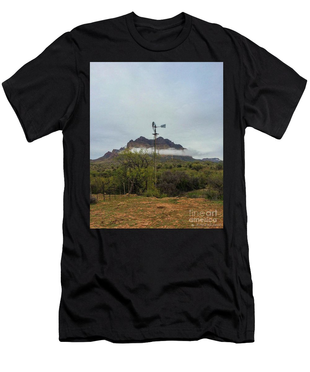 Windmill Men's T-Shirt (Athletic Fit) featuring the photograph Picket Post Windmill by Katie Brown