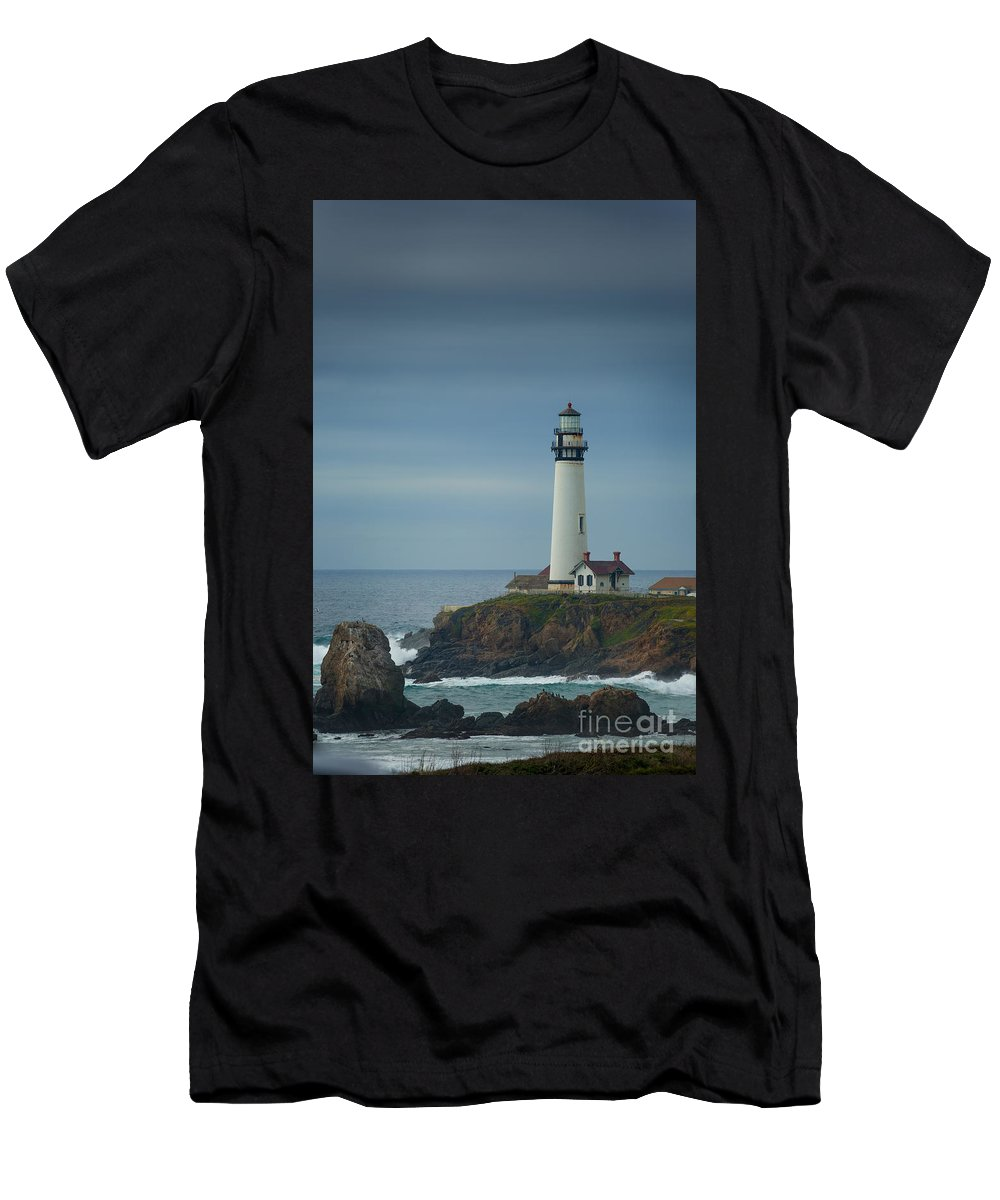 Lighthouse Men's T-Shirt (Athletic Fit) featuring the photograph Pidgeon Point Lighthouse by Konstantin Sutyagin