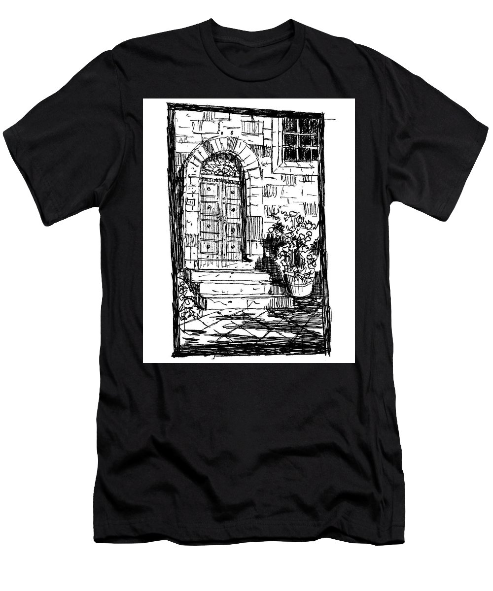 Architecture Men's T-Shirt (Athletic Fit) featuring the drawing Pienza Corso Rossellino Italy by Ken Pieper