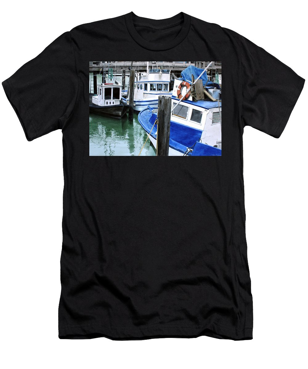 Water Scape Men's T-Shirt (Athletic Fit) featuring the painting Pier 39 by Denny Bond