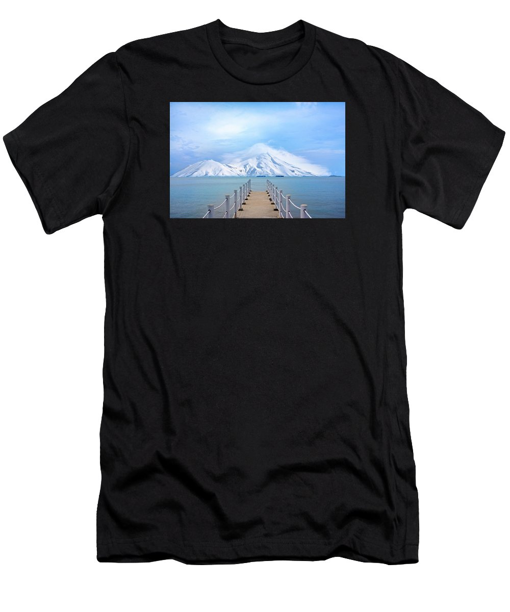 Port Men's T-Shirt (Athletic Fit) featuring the photograph Pier And Mountain by FL collection