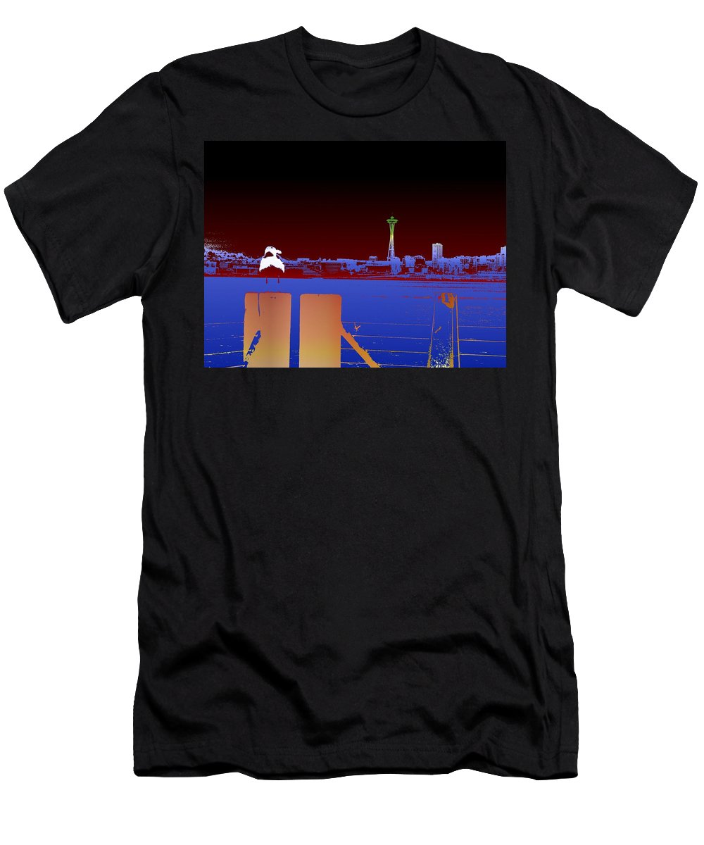 Seattle Men's T-Shirt (Athletic Fit) featuring the digital art Pier With A View by Tim Allen