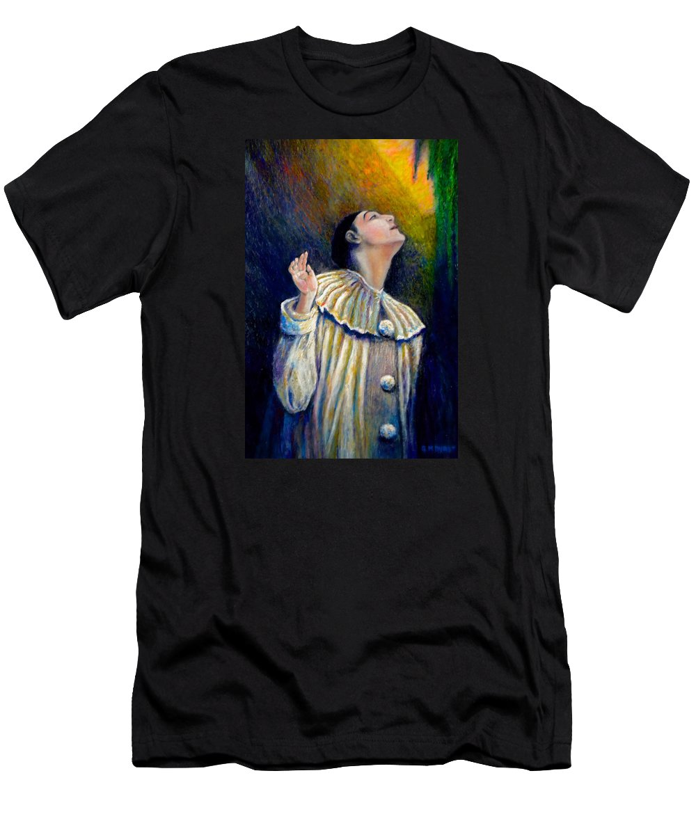 Clown Men's T-Shirt (Athletic Fit) featuring the painting Pierrot's Peering Into The Light by Michael Durst